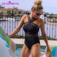 OHDREAM 2019 Sexy One Piece Swimsuit Women Beach Wear  Bandage Cross Back Neck Monokini Vintage Bathing Suits Swimming Suit