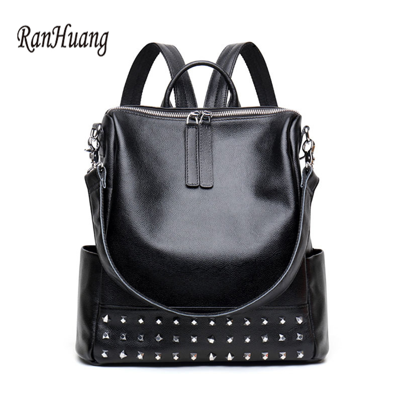 RanHuang 2017 Women Genuine Leather Backpack Rivet Design Fashion Backpack School Bags For Teenage Girls Luxury Travel Bags sendefn genuine leather backpack large capacity rivet black shoulder bag women casual backpack teenage girls school travel bags