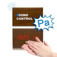 Wooden Wood Desk 3 Alarm Clock Sounds Voice Control LED Desktop Digital Table Temperature Date Clocks