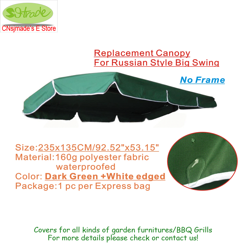 Canopy Replacement ,swing chair canopy accessory ,dark green 92.5x53/235x135cm Polyester fabric,Dark green color