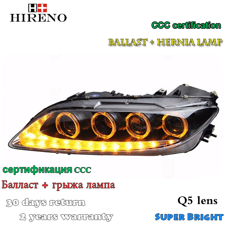 Hireno Headlamp for 2004-2012 Mazda 6 Mazda6 Headlight Assembly LED DRL Angel Lens Double Beam HID Xenon 2pcs