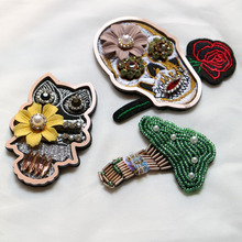 3d skull owl tree beaded patches for clothing sequins Rhinestone beads appliques Sequins parche DIY handmade clothes accessories