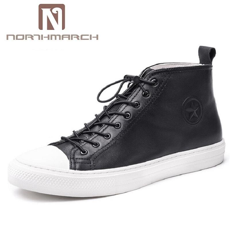 NORTHMARCH nouveau Style britannique marque de luxe hommes chaussures en cuir véritable mode décontracté mâle appartements doux bas hommes chaussures