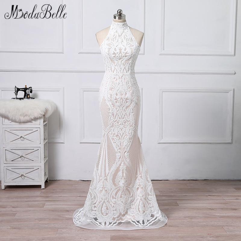 202 87 30 De Reduction Modabelle Sequin Blanc Sirene Robes De Mariee De Luxe 2018 Mariee Plage Vestido Casamento Vintage Col Haut Robe De Mariee