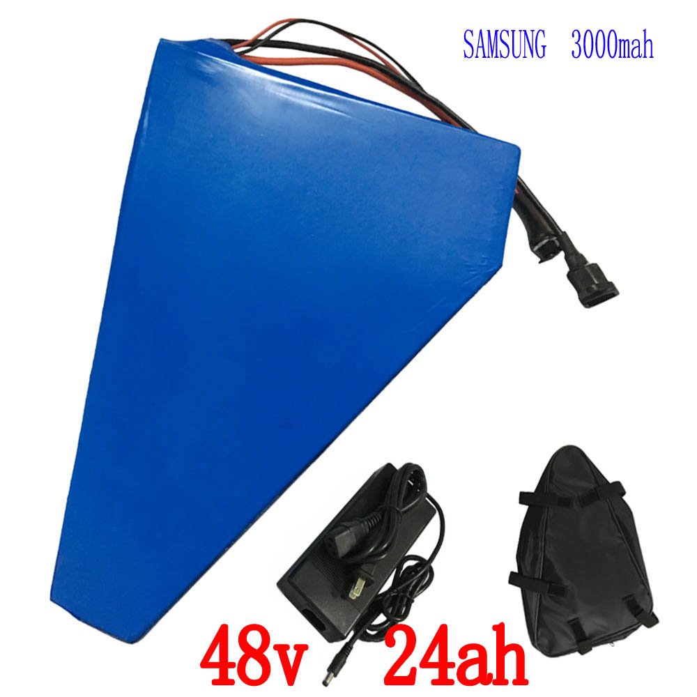 EU US no tax 48V Triangle battery 48V 24AH Ebike lithium battery use for samsung 3000mah cell 48V Li-ion charger With free bag 48v 34ah triangle lithium battery 48v ebike battery 48v 1000w li ion battery pack for electric bicycle for lg 18650 cell
