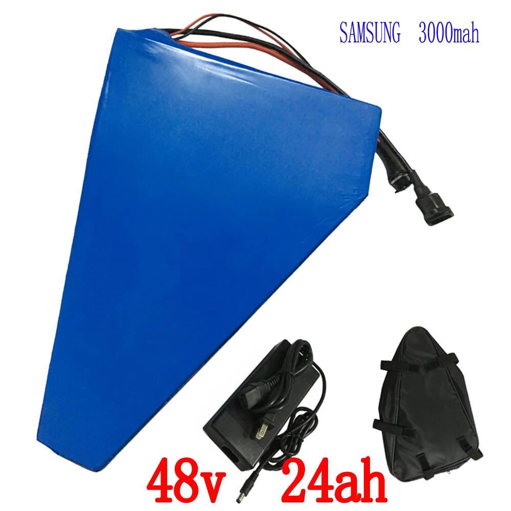 UE STATI UNITI no tax 48 v Triangolo batteria 48 v 24AH batteria al litio bici Elettrica 48 v utilizzare samsung 3000 mah batteria delle cellule con il sacchetto libero