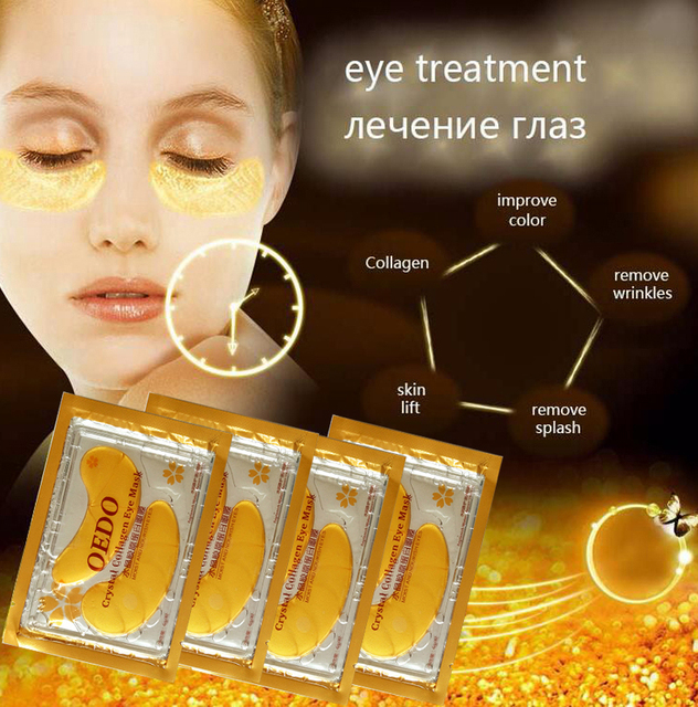 20pcs=10packs Eye Care Treatment & Mask Gold Crystal Collagen Skin Care Eye Patches Dark Circle Whitening Face Mask Care Effect