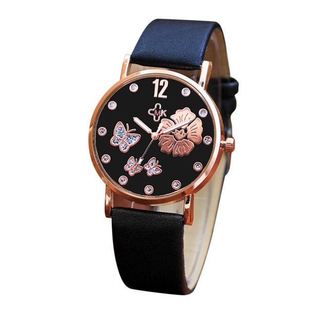 Women's Wrist Watches Color Strap butterfly Flower Printed Dial Leather Band Qua