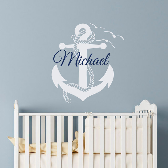 Removable boys room anchor wall sticker custom made personalized name bedroom decoration vinilos boys teens playroom