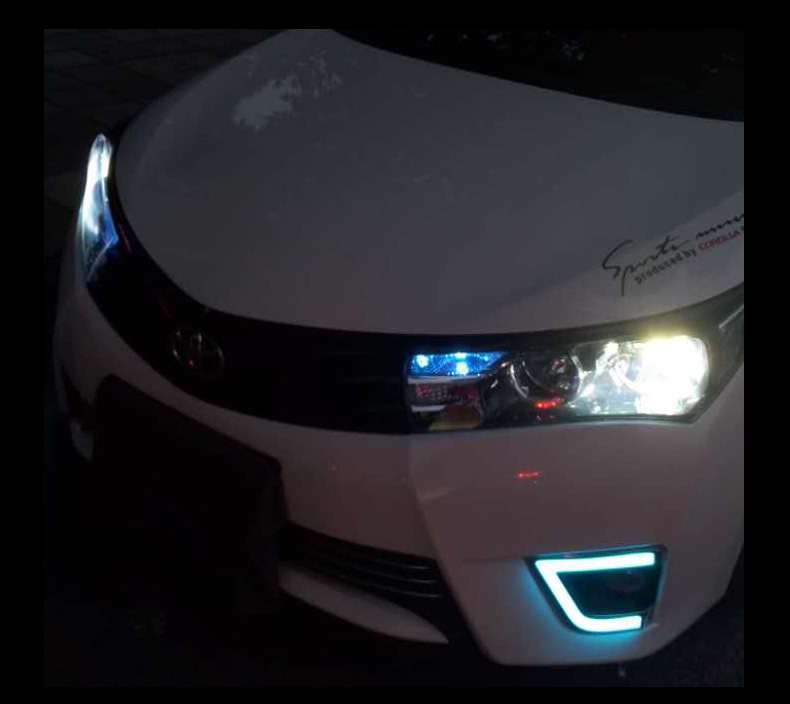 free shipping,Waterproof Car DRL LED Daytime Running Light fog lamp cover light guide For Toyota Corolla 2014 2015 12v 55w bulb car fog light lamp for 2003 toyota corolla ip67 free shipping