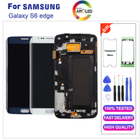 Super AMOLED S6 edge LCD For Samsung GALAXY S6 edge G925 G925F G925FQ LCD Display Touch Screen Digitizer Assembly with frame