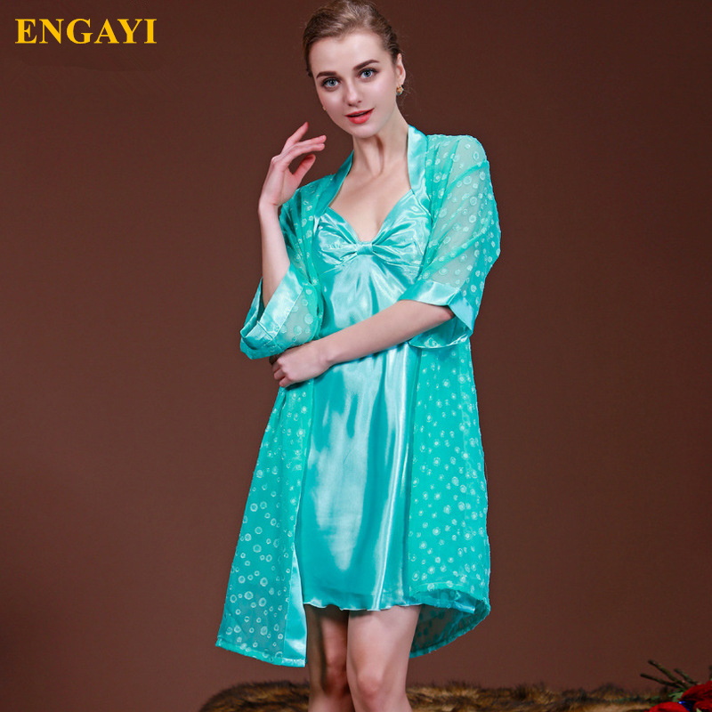 ENGAYI Brand Summer Women Night Dress Night Gown 2 Pcs Silk Satin Nightgown Longue Femme Robe Set Nightdress Sleepwear A7711