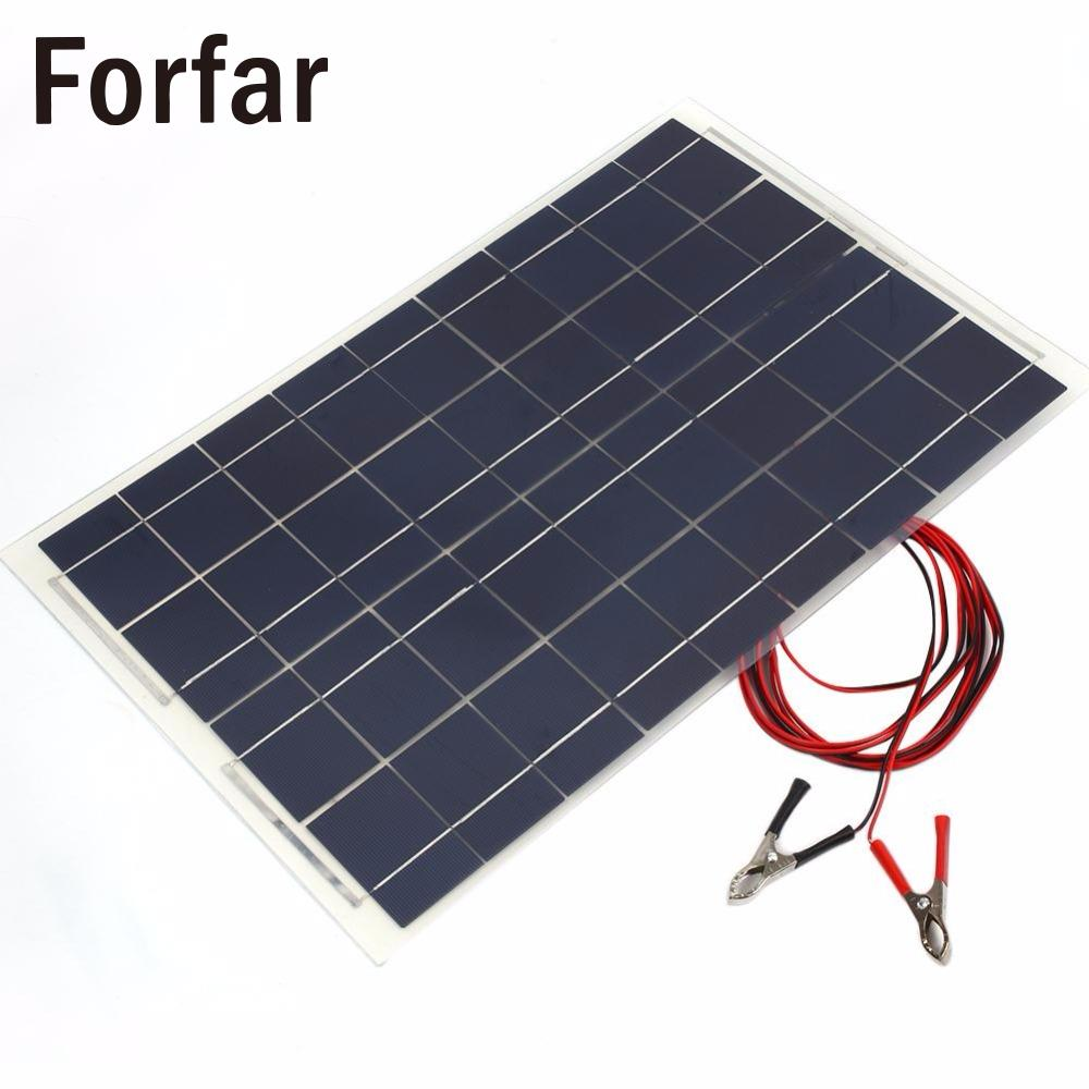18V 30W Portable Smart Solar Power Panel Car RV Boat Battery Bank Charger Universal W/Alligator Clip Outdoor tool camping