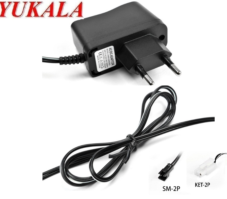 Chargeur mural adaptateur ca/cc cc 6.0V 250mA pour batterie rechargeable 6V ni-cd/6v MH prise SM/prise Tamiya