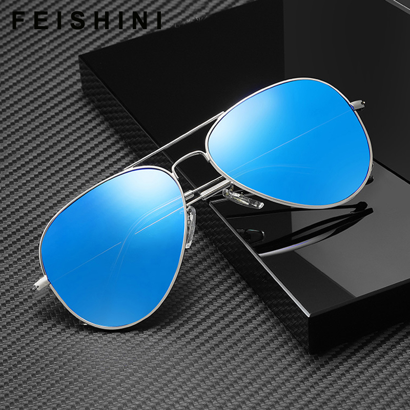 Image 5 - FEISHINI Brand Advanced 16g Stainless Steel Pilot Sunglasses Men Polarized Driving Clear Mirror Sunglass Women UV Protection-in Men's Sunglasses from Apparel Accessories