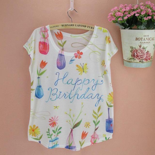 Feliz cumpleaños cartas imprimir camiseta mujer mejor regalo de verano  muchachas americanas y europeas más venta 21a41e7ce38f5