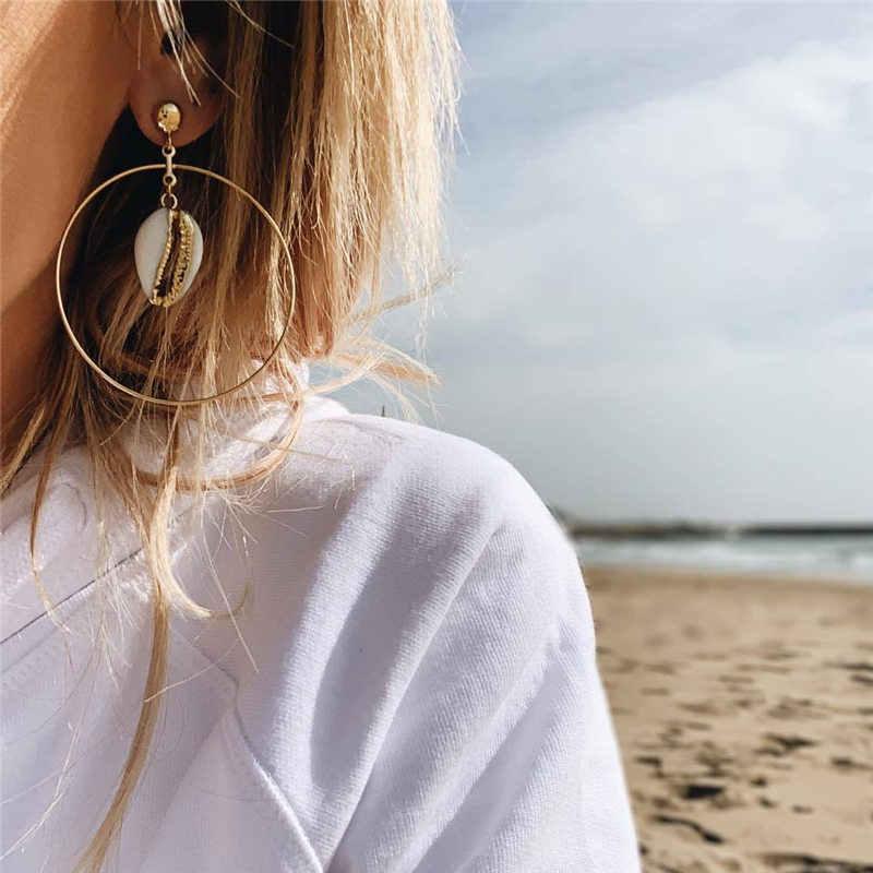 Jika Aku Fashion Za 2019 Emas Besar Cowrie Laut Alami Shell Anting-Anting untuk Wanita Musim Panas Shell Anting-Anting Menjuntai Drop Anting-Anting perhiasan Baru