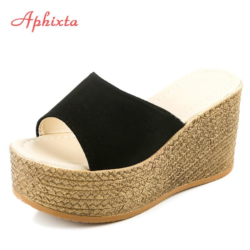 Aphixta Platform Wedges Shoes Women Slippers Women Luxury Open Peep Toes Summer Shoes Black Slippers Women Slides Wedge Sandals