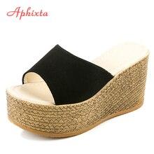 Aphixta منصة أسافين أحذية النساء النعال النساء الفاخرة المفتوحة اللمحة أصابع أحذية الصيف الأسود النعال النساء الشرائح صندل خشبيشباشب