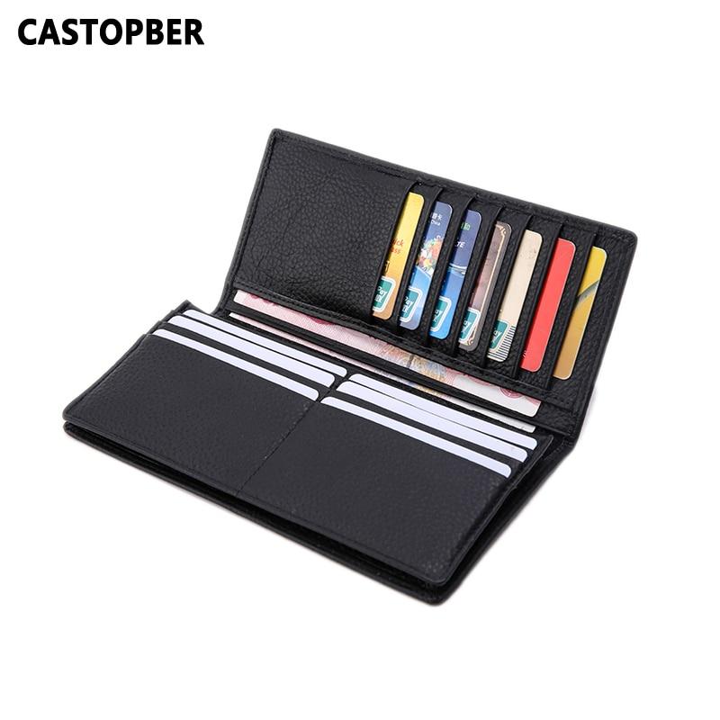 Men Wallet Genuine Leather Wallet Business Design Long Purse Cowhide Card Holder Slim Men's Wallets Famous Brand High Quality