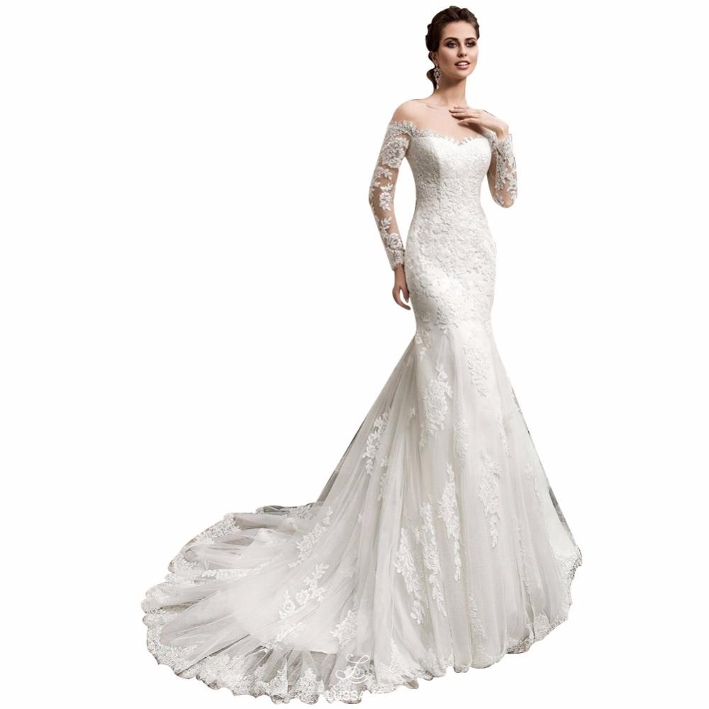 ZYLLGF Bridal Sexy Transparent Back Long Sleeve Mermaid ...