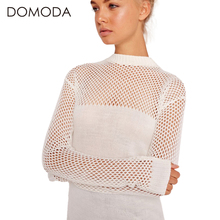 DOMODA Women Fashion Sweaters Solid White Knitted Hollow Out Sexy Female Sweaters Patchwork Long Sleeve Elegant Pullovers