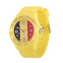 2018 Футбол часы кварцевые часы бельгийский флаг узор желтый Цвет мягкий силиконовый ремешок Наручные часы для Для женщин Для мужчин