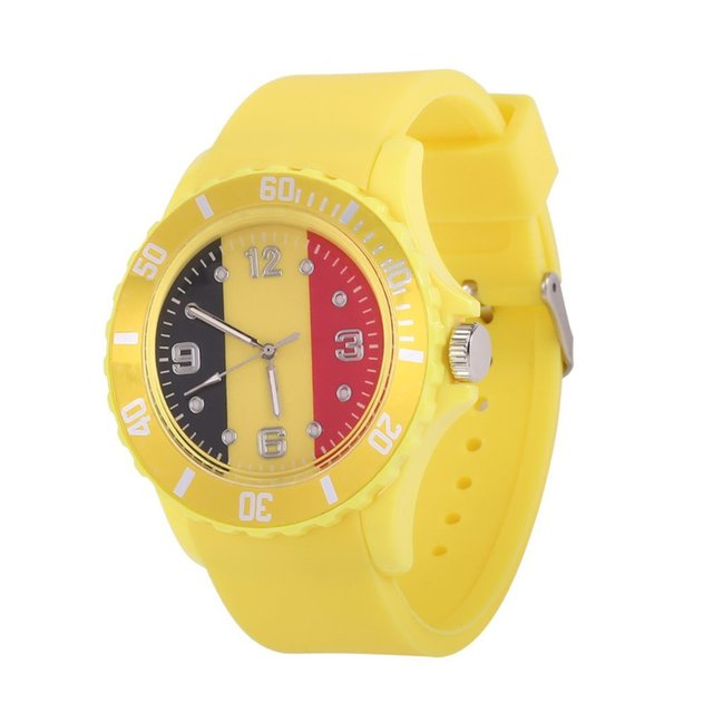 2018 Football watch Quartz Watches Belgian Flag Pattern Yellow Color Soft Silico
