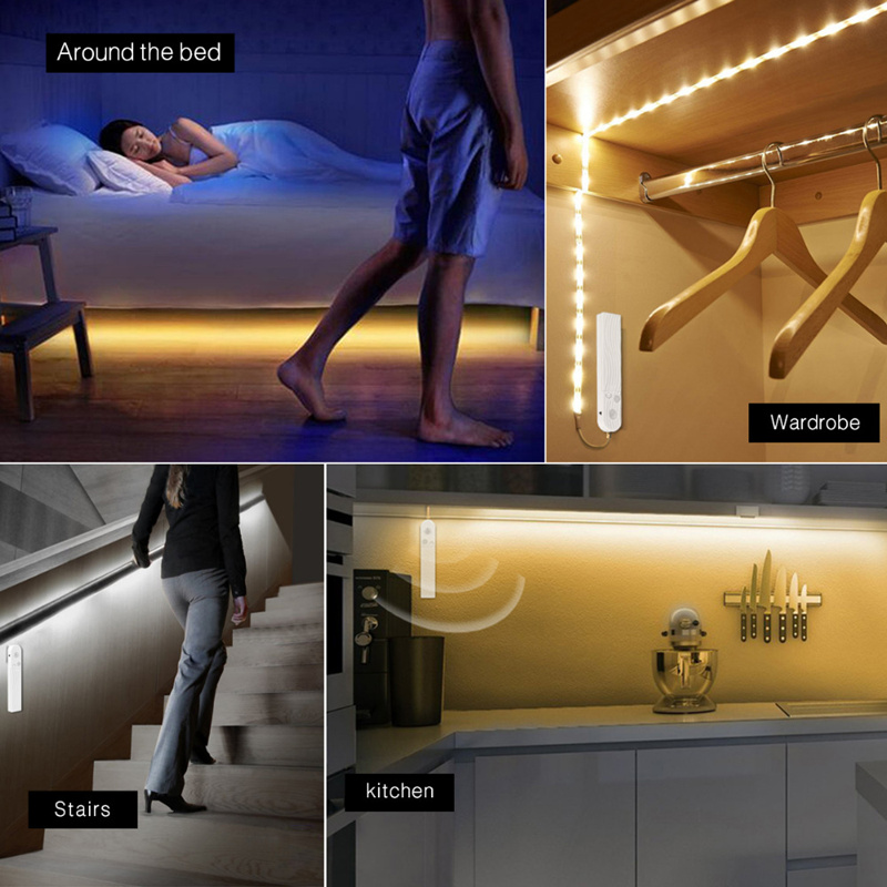 PIR Motion Sensor LED Bed Closet Night Lights 4AAA Battery Power Flexiable LED Strip Lamp Cabinet Stairs Hallwa Lamparas