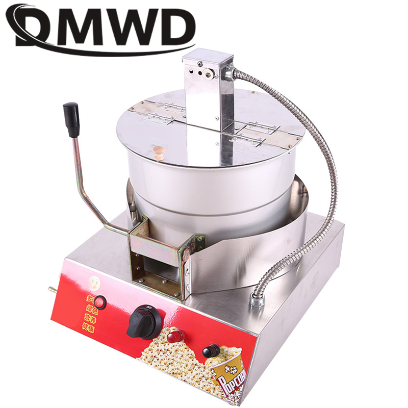 DMWD Commercial Electric gas Hot Air Popcorn Maker Gas single pot Hand-operated Oil-Popped popcorn Making Machine Corn Popper цены