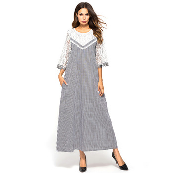 74cee0cc2b Las mujeres musulmanas ropa Plaid vestido Maxi de traje largo vestidos  siete cuarto manga Kimono Abaya suelto Ramadán árabe turco Islámica