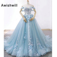 New Arrival Blue Long Dress for Photograpy Lace up Back 3D Floral Appliques Tulle Prom Dresses Off The Shoulder Party Gown