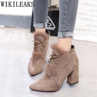 Ankle Boots For Women Shoes Woman Suede Boots High Heel Boots Botas Mujer 2017 Ladies Black