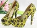 Artesanal de Luxo casamento de cristal amarelo sapatos de salto alto plataforma de strass sapatos de noiva sapatos de leopardo sapatos de salto alto