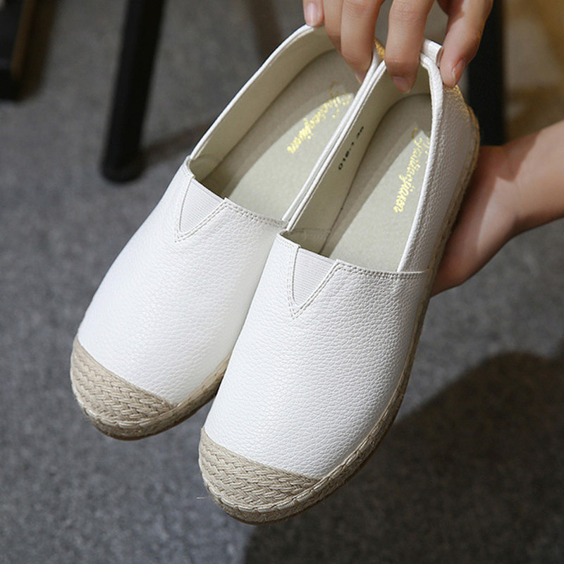 2018 Loafers shoes Women slip on Flats Solid spring Summer ladies round toe white shoe Plus Size footwear Y161W odetina 2017 new women pointed metal toe loafers women ballerina flats black ladies slip on flats plus size spring casual shoes