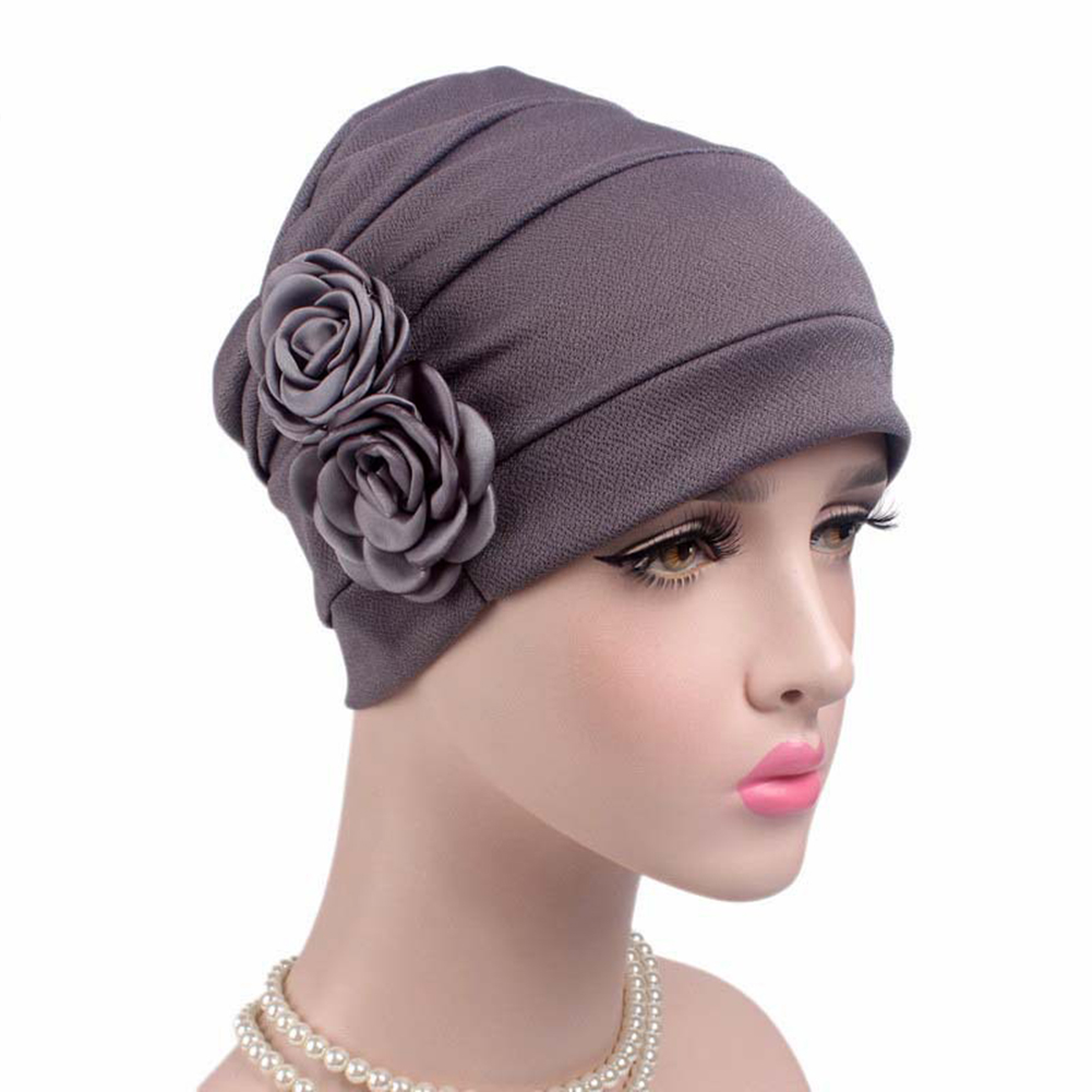 New 2017 Womens Elegant double 3D Flower beanie Pleated sleep cap Chemo Cancer hat Confinement caps