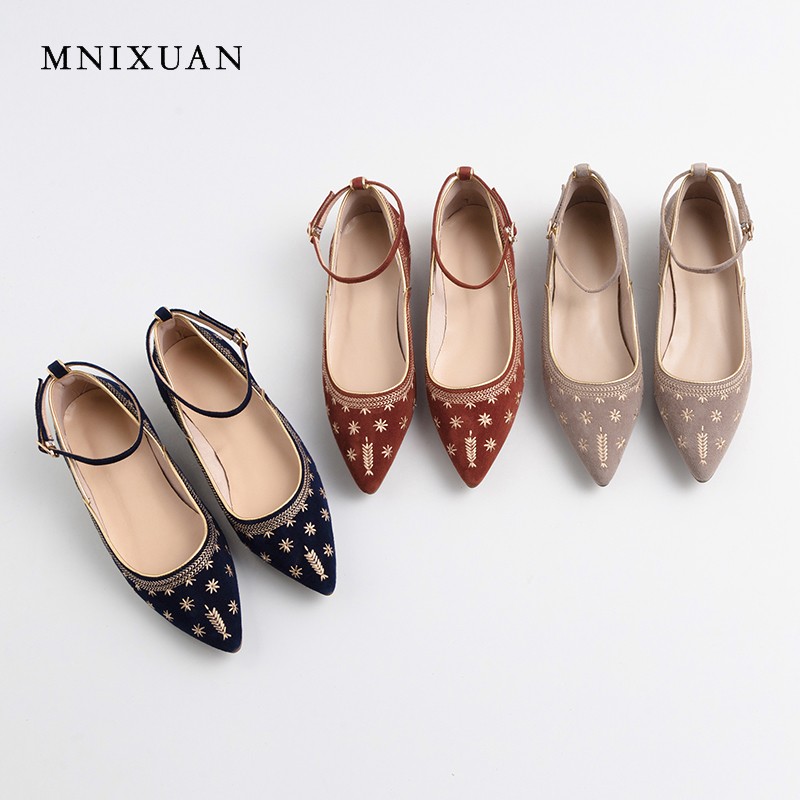 MNIXUAN Comfortable women flat shoes loafers 2019 spring new   leather     suede   pointed toe buckle retro embroidery shallow shoes red