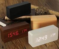 En bois LED Réveil + Temps/date/température Numérique Bambou Bois Horloge Voix Activé Table Horloges Reloj Despertador Wekker