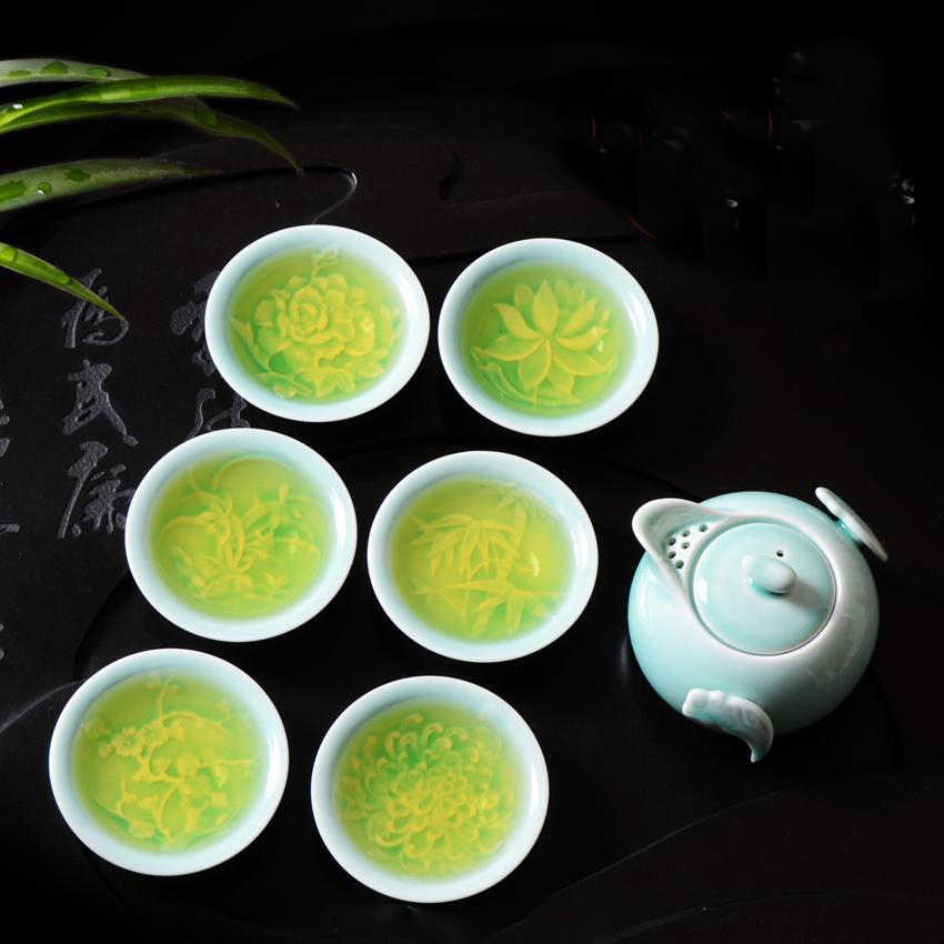 Celadon porcelain teaset Kung Fu Tea Set Ceramic teapot pot and cup for gift  special offer