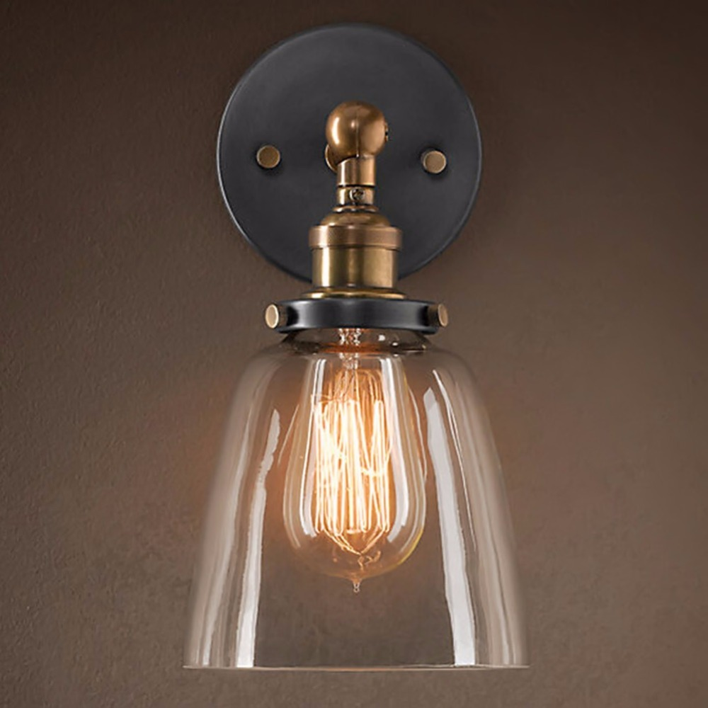 E27 Industrial Retro Glass Loft Wall Light Vintage Indoor Lighting Wall Lamp Bedside Bedroom Kitchen Restaurant Wall Sconce