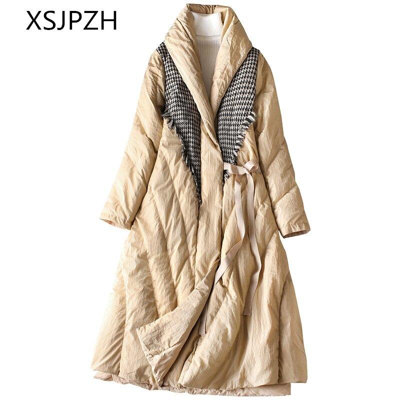 Duvet Manteau Laine Section Le Blanc Lâche Black Longue D'hiver De Canard Nouvelles Bas 2018 Extérieure Lb377 Chaud Veste Couture Vers Femmes camel Épais x6vHFA7