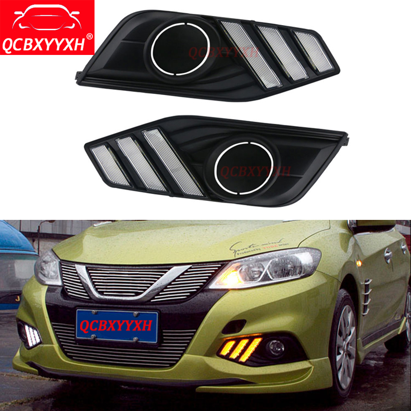 QCBXYYXH Car-styling For Nissan Tiida 2016 2017 12V Turning Yellow Signal LED DRL Daytime Auto Running Light Daylight lamps Hole car styling drl controlador auto car led daytime running dimmer on off 12 18 v fe7 2