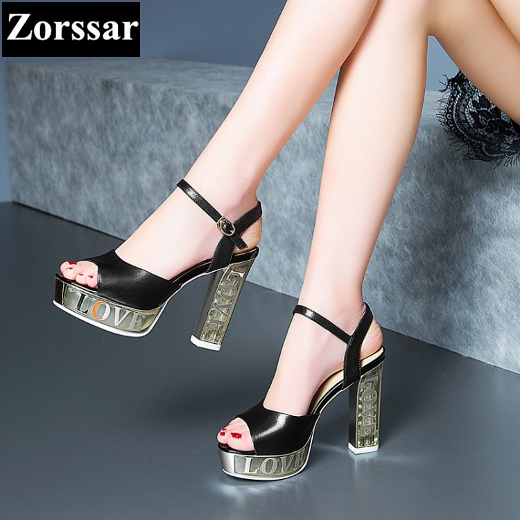 {Zorssar} Brand 2017 NEW Top Genuine leather Fashion sexy Womens Wedding shoes platform sandals high heels peep toe pumps zorssar brand 2017 high quality sexy summer womens sandals peep toe high heels ladies wedding party shoes plus size 34 43