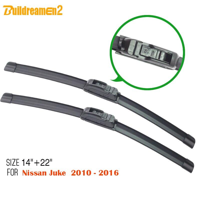 Buildreamen2 2Pcs Car Frameless Soft Rubber Wiper Blade Windshield Automotive Window Wiper Blades For 2010-2016 Nissan Juke