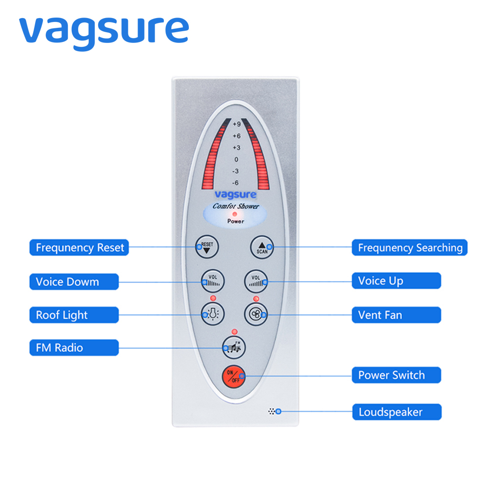 Vagsure 1Pcs New Controller Shower Room Control Panel Waterproof IPX5 Fm Radio Vent Fan Speaker For Shower Cabin Accessories black lcd display shower cabinet radio control set shower led light speaker vent fan control panel