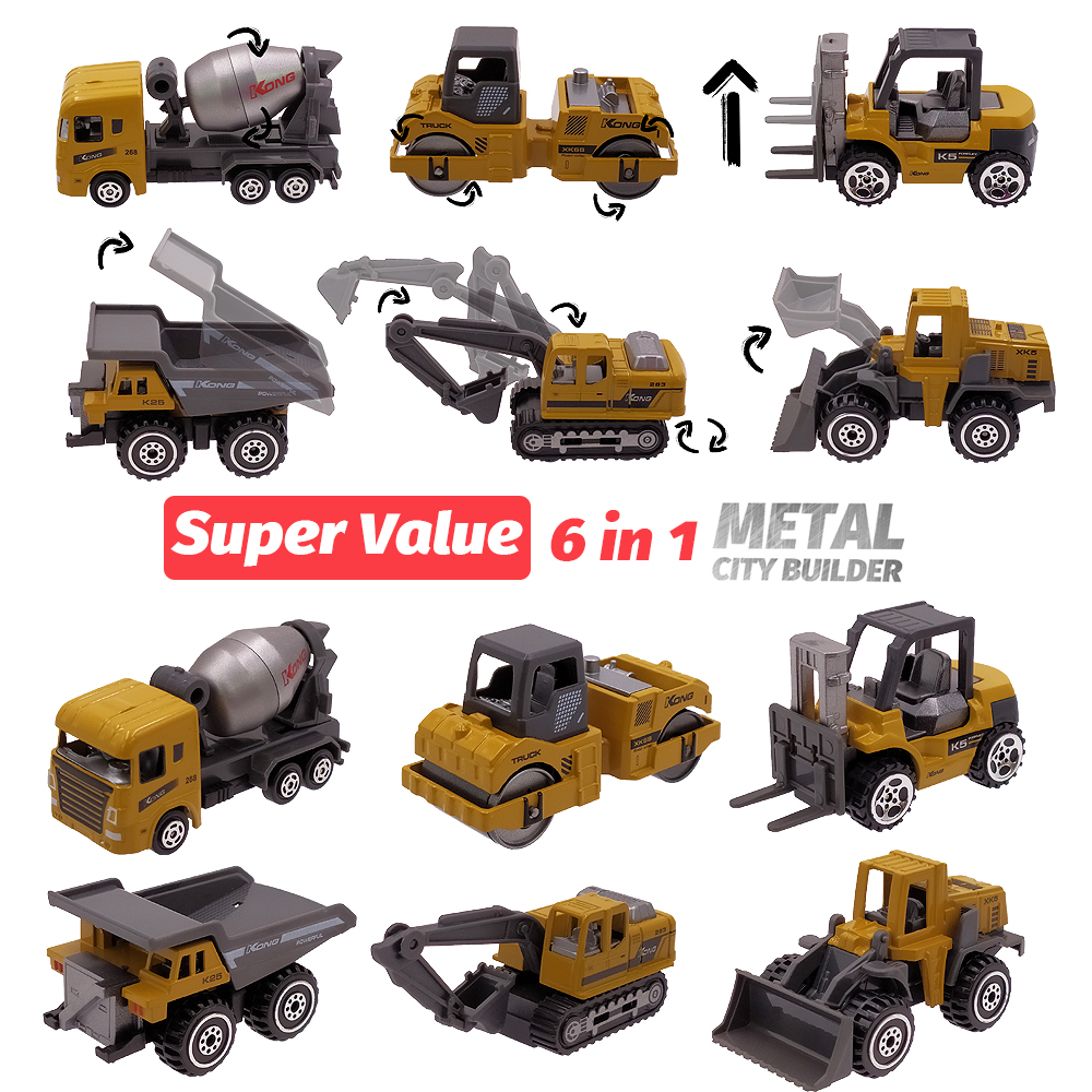 6 Metal Diecast Toy Vehicles Alloy Toy <font><b>Car</b></font> Toy <font><b>model</b></font> 1:64 Roller Dump Truck Excavator Bulldozer Tanker Forklift Tractor Toy Set image