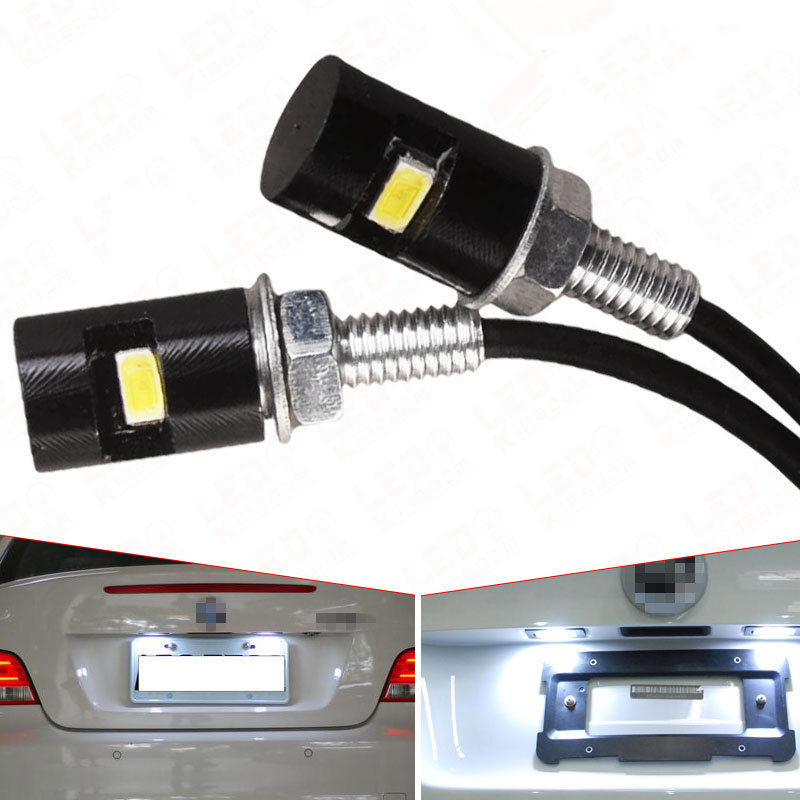 CYAN SOIL BAY 2pcs Motorcycle LED License Plate Lights SMD 5630 Car Auto Front Tail Number Lamps Bulbs Styling Screw Bolt White cyan soil bay 9led 5630 smd festoon c5w