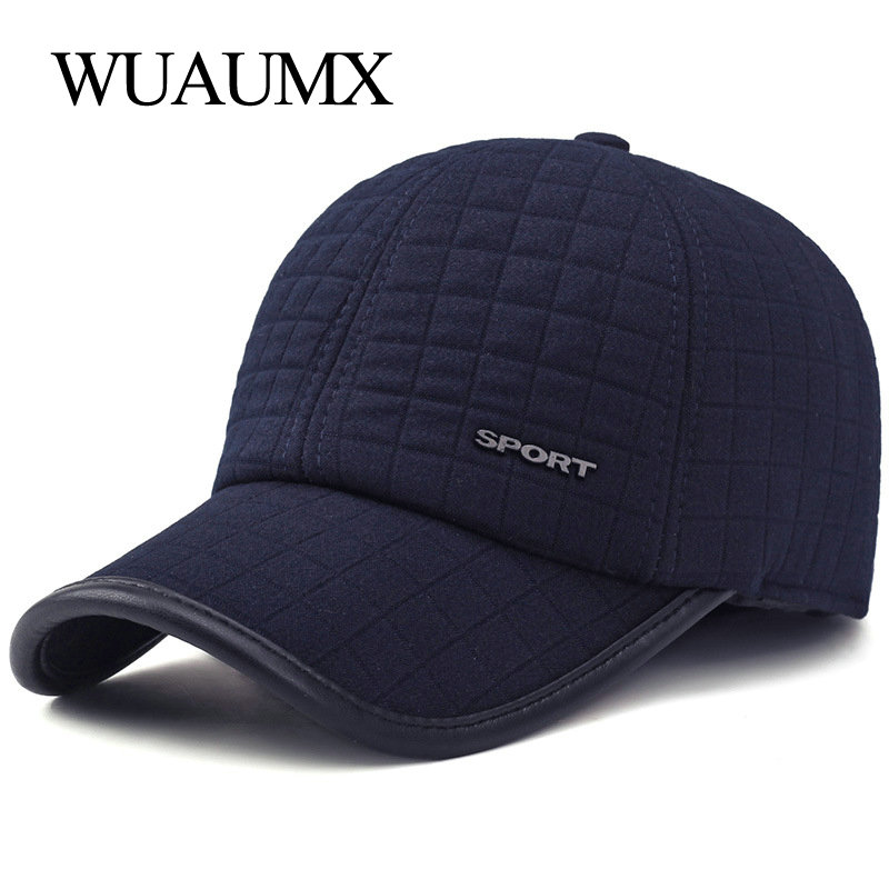 Wuaumx HOT Winter Baseball Cap For Men With Earflaps Warm Cotton Thicker Snapback Cap Men Father's Hats Ear Protection Casquette