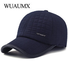 Wuaumx HOT Winter Baseball Cap For Men With Earflaps Warm Cotton Thicker Snapback Cap Men Father