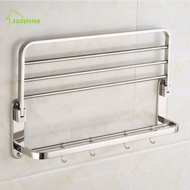 AUSWIND Modern sliver polish Folding towel rack stainless steel     AUSWIND Modern sliver polish Folding towel rack stainless steel hotel towel  rack bathroom accessories rack wall mount 60 cm  in Towel Racks from Home